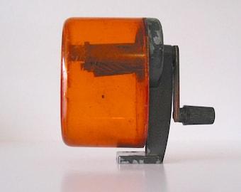 Vintage Bulldog Orange Manual Pencil Sharpener Wall or Desk Mount