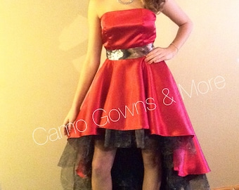 Red Hi/Lo Wedding Prom Dress with Mossy Oak Camo Tulle Ruffles & Satin Sash