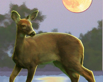 Painting ACEO, Deer in Moonlight, Original Graphic Design Art Card