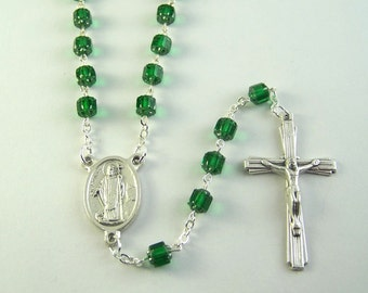 Saint Patrick Rosary with Czech Cathedral Beads (45)