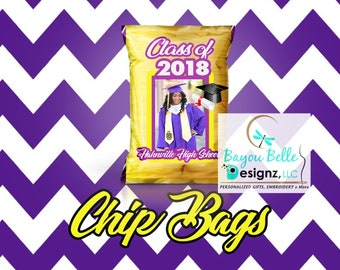 GRADUATION CHIP BAGS, party favors, chip bags, chips, personalized chip bags, birthday, graduation, events