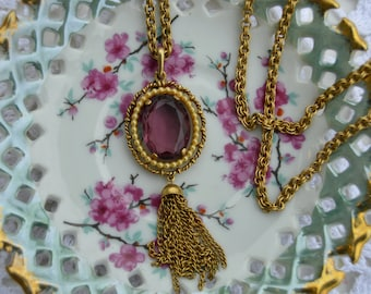 Vintage AVON Gold Tone Necklace With Purple Gemstone and Tassels