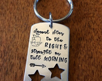 Second Star to the right and straight till morning hand stamped keychain new driver birthday book lover pirate gift