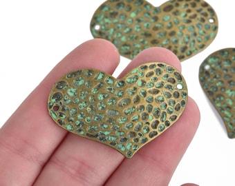 4 Bronze Sideways HEART Connector Links GREEN verdigris patina 47x32mm chs4287