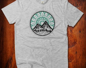 Mountains Tee, Hiking Shirt, Nature Lover Gift, Wanderlust Adventure Shirt, Yoga Mountain T-shirt, Men's Women's Kids, Earth Day Shirt