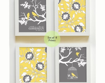 Yellow and Gray Family Tree and Love Birds Personalized Art  Set of  4 Wall Art -  Floral Flower Art - Bedroom , Living room , Bathroom