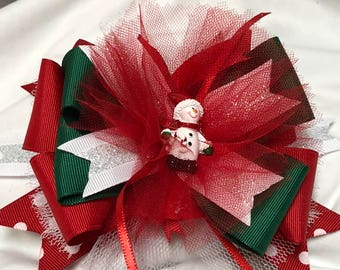 Red and Green Snow Man Glitter Christmas Hair Bow
