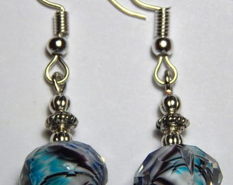 Turquoise Blue Swirl Beads with Silver Earrings