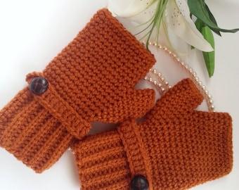 Crochet fingerless gloves in rust, wrist warmers-Winter Gloves