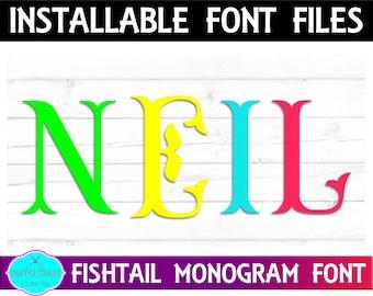Fishtail Monogram Font, TTF Files Silhouette Cameo and Cricut Files