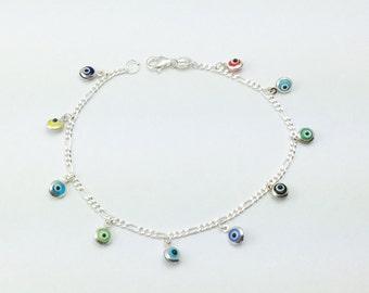 925 Sterling Silver Evil Eye Bracelet, Evil Eye Bracelet Multicolor Glass Beads 4mm Round, Evil Eye Jewelry, Gift for Women  Silverbar55