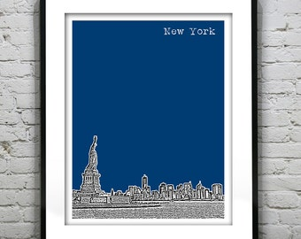 New York City NY Skyline Art Print Poster NYC Statue of Liberty Version