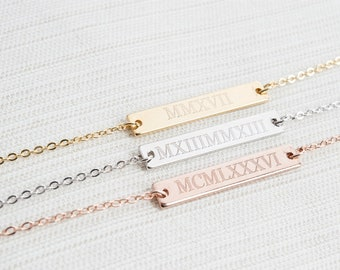 Roman Numeral Bracelet, Engraved bar bracelet, Silver Gold or Rose gold plated, Date Bracelet