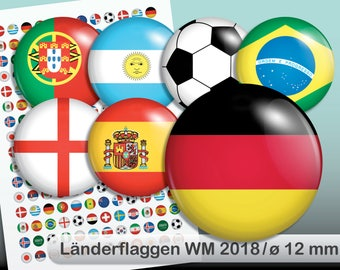 Digital Collage Sheet Soccer World Cup flags 10 mm