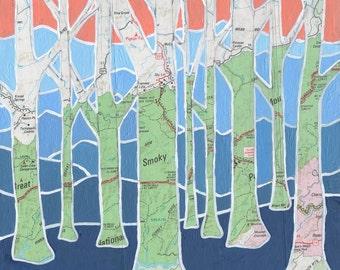 Smoky Mountain Trees - small print - featuring North Carolina mountains, Appalachians, Smoky Mountain National Park