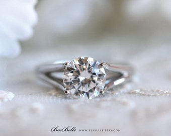 1.90 ct. Split Shank Solitaire Engagement Ring-Brilliant Cut Diamond Simulant-Bridal Ring-Wedding Ring-Solid Sterling Silver [1353]