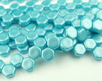 30x Czech Honeycomb Beads 6mm Hexagonal 2 Hole Pastel Aqua