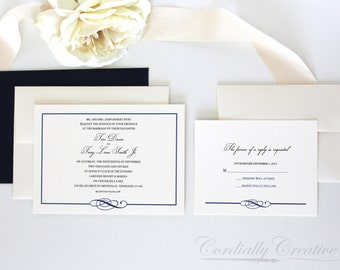 Traditional Wedding Invitation with Border and nautical style with border and knot, shown in Navy with RSVP Card, for a classic invitation