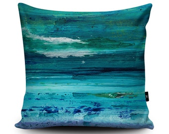 Turquoise Vegan Handmade Cushion by Peter Murray | Turquoise Pillow | Blue cushion | Seascape Blue pillow case | Seaside Nautical decoration