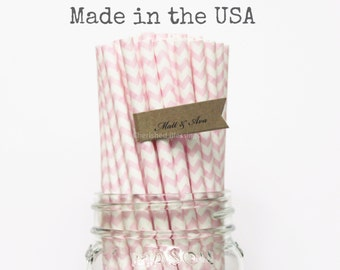 100 Pink Paper Straws, Baby Shower, Chevron Wedding Straws Made in USA Table Setting Paper Goods Princess Party Pink Lemonade Party Supplies