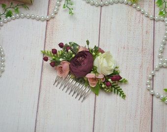 Bridal hair comb/ Wedding hair accessories/ Ivory flower comb/ Bridesmaid hair comb/ Flower girl comb/Burgundy hair comb/Wedding flower comb