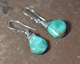 Turquoise Earrings Silver Wire Wrapped Gemstone Earrings Green Earrings Luxe Rustic Jewelry