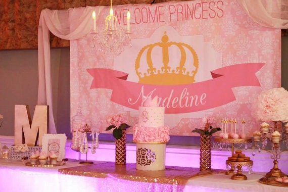 Merveilleux Princess Party Backdrop  Pink And Gold Crown (choose Your Size)
