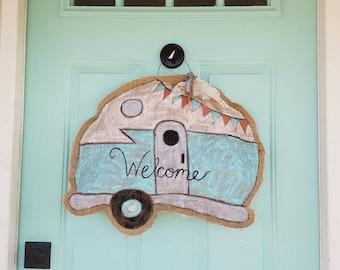 Welcome Trailer Burlap Door Hanger