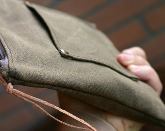 Waxed canvas case - waxed canvas pouch - waxed canvas bag - waxed canvas purse - pencil case - traveller case - waxed cotton pouch
