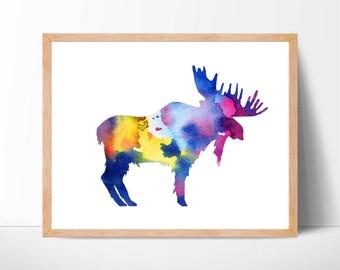 Watercolor Moose Print No.1, Moose Print, Moose Painting, Moose, Woodland, Forest Animals, Nursery Wall Art, Watercolor Animal, Home Decor