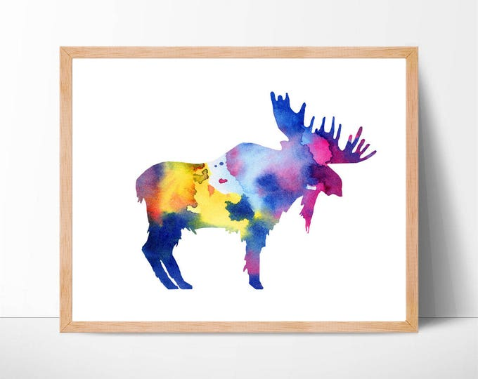 Watercolor Moose Print No.1, Moose Print, Moose Painting, Moose, Woodland, Forest Animals, Nursery Wall Art, Watercolor Animal, Home Decor