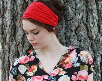 Yoga Head Wrap / Extra Wide Headband / Head Wraps for Yoga / Headwrap Headband / Red Headband / Hipster Head Band / Red Headwrap / Womans