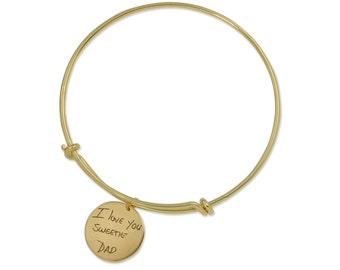 Personalized gifts for her - Handwriting Gold Filled Bangle Bracelet - Handwriting Bangle - Signature Bracelet - Signature Bangle