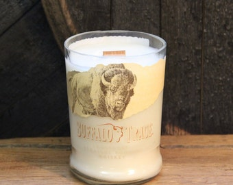 Buffalo Trace Whiskey Candle - Groom Gift, Anniversary Gift, Recyled Bourbon Bottle 1L, 22oz Soy Wax Wood Wick Handmade Candle, Fathers Day