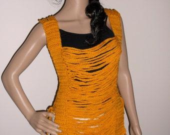 Crochet Chain Tunic, Crop top, cropped halter top, tank top, tunic, music festival, chain vest, clubwear, MUSTARD