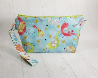 Small Knitting Project Bag, Believe You Can Birds - Dream, Hope, Faith, Joy, Love - Zippered Zipper Wedge Knitting Bag Cosmetic Bag WS0080