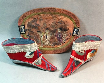 Chinese Lotus Slippers with Silk Pouch