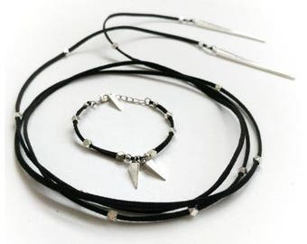 Black wrap necklace set spike necklace vegan leather vegan gift leather and spikes jewelry set spike necklace black choker cruelty free