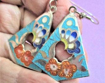 Turquoise Cloisonne Earrings Large Dangle Earrings Artful Butterfly Floral Earrings Turquoise Peach Enamel Silver Jewelry Asian Butterfly