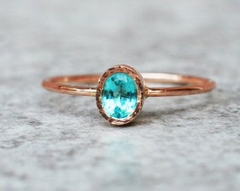 Oval Apatite ring, Rose gold Ring,  Unique Engagement Ring, Blue Gemstone Ring, Engagement Ring,Statement Ring, Solitaire Ring