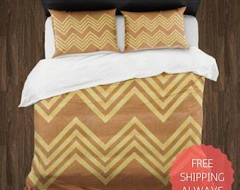 BROWN and YELLOW Chevron Duvet Cover & Pillow Shams ONLY, Dorm Bedding, College Bedding, Queen King Bedding, Teen Bedding, Comforter Cover