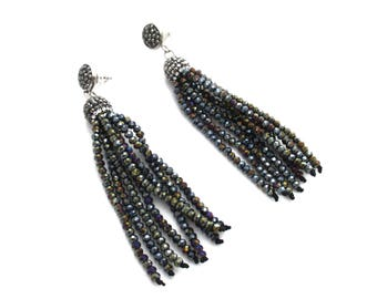 Crystal Volcano Tassel Earrings with Gunmetal Pave Cap and Gunmetal Pave Posts