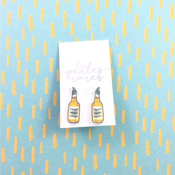 beer, with lime, pool party, cocktail, cheers, yellow, earrings, shrink plastic, green, lemon, stainless stud, handmade, les perles rares