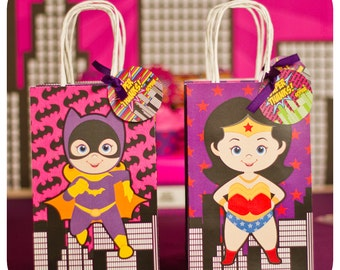 Supergirl; Supergirl Party; Supergirl Birthday Party; Supergirl Birthday; Supergirl Birthday; Super Girl; Super Girl Party Gift Bag Fronts
