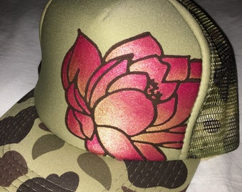 Camo trucker with hand painted goldy and deep red ombre lotus