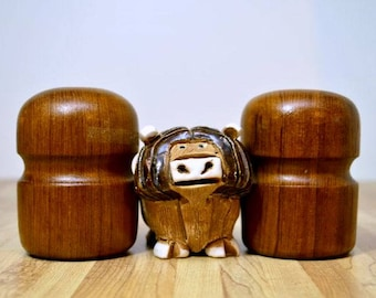 Vintage Mid Century Style Wooden Salt and Pepper Shakers