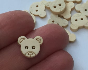 10 Bear Wooden Buttons Light Yellow 13 x 11mm