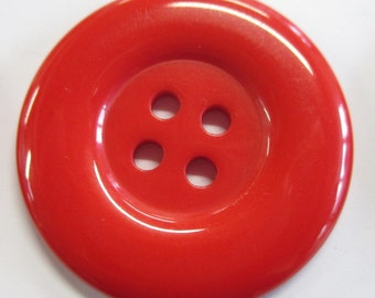 6 Large Red Buttons | Red Large Button | Red Buttons | Plastic Red Buttons | 33 mm  Red Buttons | Statement Red Buttons
