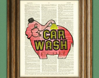 Elephant Car Wash Seattle sign illustration beautifully upcycled dictionary page book art print