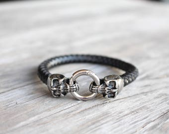 Skull Leather Bracelet for Men , Stainless Steel Jewelry for Men , Punk Gothic Jewelry